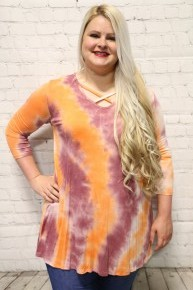 Feeling Free Tie Dye Criss Cross Top In Multiple Colors Sizes 4-20