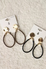 Lovely Day Braided Leather Hoop Earring In Multiple Colors