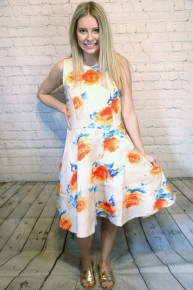 It's Vital Sleeveless Dress with Orange and Blue Floral Print-Sizes-4-10