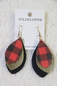 Falling For You Leather Earrings In Buffalo Plaid