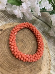 Perfect Stretch Peach Sparkle Beaded Bracelet