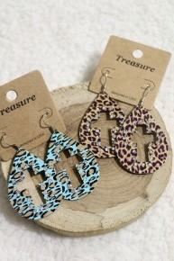Thats The Best Leopard Cross Earrings With Gems In Multiple Colors