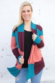 It's Already Done Striped Color Block Cardigan In Coral - Sizes 4-20