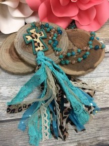 Turquoise Leopard Cross Necklace with Multi Color Cloth Tassels