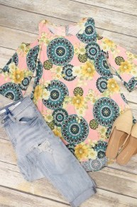 Sweet Beginnings Mix Print Cold Shoulder Top In Pink- Sizes 4-10
