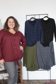 Just Ask It High Low Tunic with Faux Wooden Buttons and Front Knotted Tie in Multiple Colors Sizes 12-20