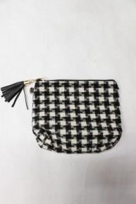 Fresh Start Black and White Buffalo Plaid Small  Bag with Black Tassel Zipper