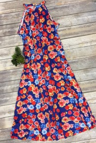 In The Name Of Love Floral Mock Neck Dress In Blue - Sizes 6-18