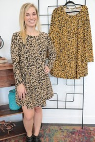 Beautifully Living Leopard Long Sleeve Dress - Multiple Colors - Sizes 4-20