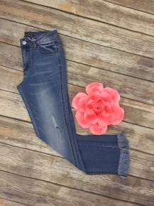 The Leslie Light Denim Jeans With Frayed Hem - Sizes 1-15