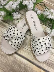 The Trisha Polka Dot Espadrille Sandals In White