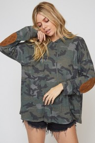 Oh What A World Camo Hooded Top With Suede Elbow Patch- Sizes 4-10
