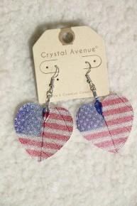 American Pride Leaf Shape American Flag Earring