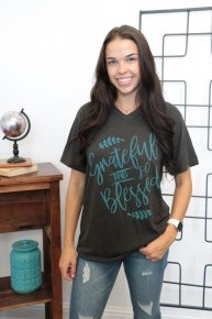 Grateful And Blessed Graphic Tee In Charcoal- Sizes 6-10