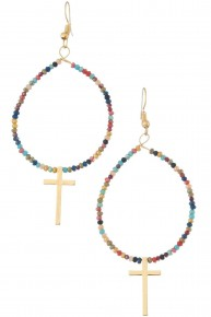 Dress It Up Beaded Hoop Earrings With Cross - Multiple Colors