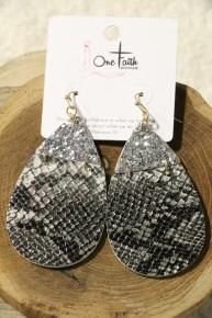 Saturday Night Lights Teardrop Earrings In Snake Print