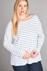 Follow My Lead Striped Knit Top In Blue - Sizes 12-20