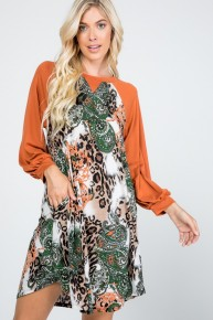 Just a Minute Leopard and Paisley with Orange Bubble Sleeves