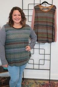 So Much Fun Knit Top With Striped Sleeves And Elbow Patch In Multiple Colors- Sizes 12-20