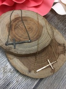 Cross Bar Necklace with Wood Distressing in Multiple Colors