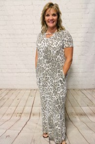 Walking on by Leopard Maxi Dress with Keyhole Neckline and Side Slit - Sizes 4-20