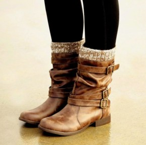 Walk This Way Brown Boots With Leg Warmer Detail