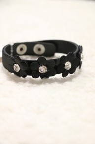 In The Garden Black Leather Bracelet With Crystal Detail Flower