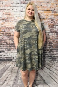 How About This Camo & Star Tee Dress- Sizes 4-20