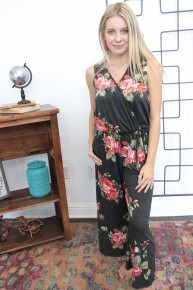 What Can I Do Floral Jumpsuit In Gray Sizes 4-10
