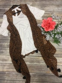 Hope You Do Leopard Kimono Vest with Tassels - Sizes 4-20