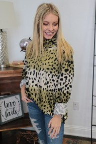Snap Back Leopard Ombre Hoodie In Olive - Sizes 4-20