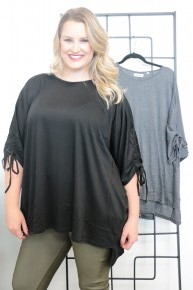 Find Yourself Dolman Top With Tie Accent Sleeve - Multiple Colors- Sizes Medium & 1X *Final Sale*