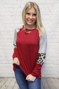 Take a Chance Solid Raglan with Striped Accent Sleeve in Multiple Colors- Sizes 4-18