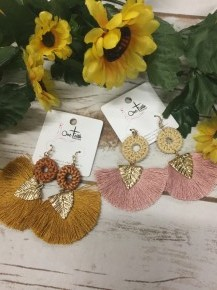 Woven Gold Leaf Tassel Earrings Multi Color