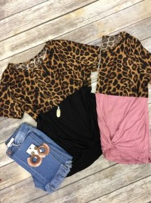 Drive In The Fast Lane Leopard Color Block Top - Multiple Colors - Sizes 12-20