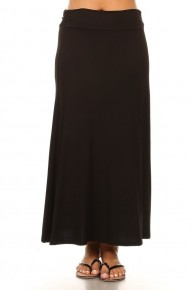 Take it Easy Black Maxi Skirt with Fold Over waist Sizes 12-20
