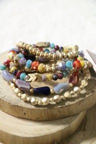 What A Fun Day Multicolor Beaded Bracelet With Gold Accents