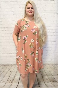 Garden Party Floral Dress With Pockets  In Mauve- Sizes 12-20