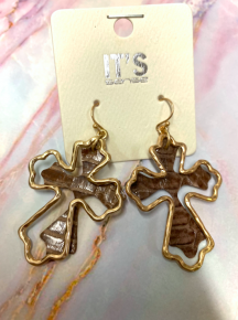 Free To Be Me Gold Cross Earrings With Crocodile Skin Accent