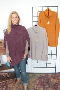 Feeling The Fall Turtleneck Poncho - Multiple Colors - Sizes 4-12