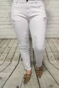 The Linsey Distressed White Denim - Sizes 4-18