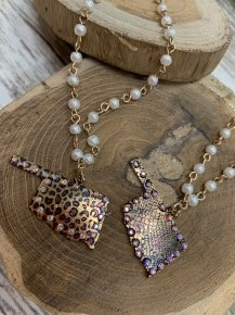 Oklahoma The Beautiful Pearl and Rhinestone Necklace Multiple Prints
