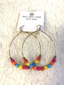 Hanging With You Hoop Earrings With Wooden Multicolor Beads