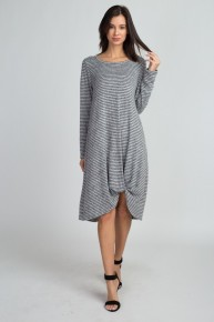 Drive Home Fast Long Sleeve Striped Dress In Gray - Sizes 12-20