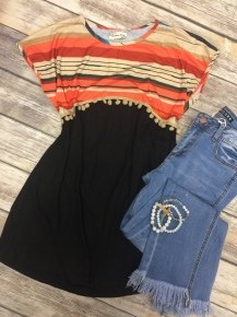 Can't Be Tamed Striped & PomPom Top - Sizes 4-20