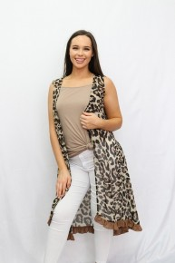 Top Of The World Leopard Vest with Ruffles - Sizes 4-20