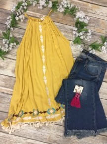 Sunshine On My Shoulders Halter Tank Top in Yellow - Sizes 12-20