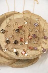 Quatrefoil Gemstone And Goldtone Disk Charm Necklace In Multiple Colors