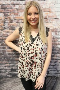 Take a Night Out Leopard Sleeveless Top with Black Lace Accent- Sizes-4-18