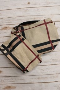 Always There Tan 2 in 1 Plaid Purse with Shoulder Strap